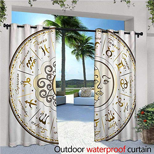 - Zodiac Outdoor- Free Standing Outdoor Privacy Curtain Circular Zodiac Chart Apparent Position of Sun and Moon in Centre Pattern Print for Front Porch Covered Patio Gazebo Dock Beach Home W72 x L96