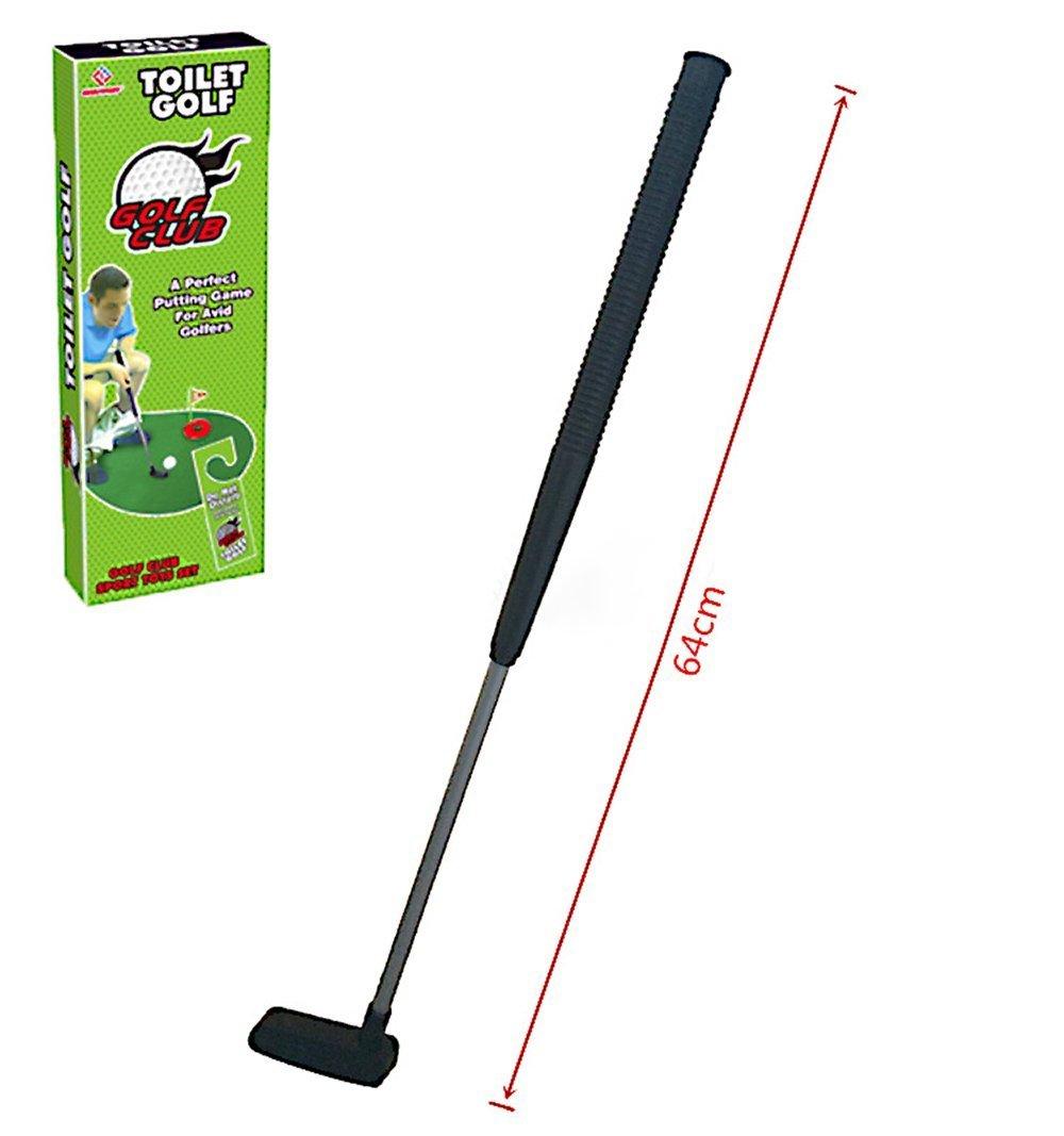 Hemore - Set de mini golf para baño - Juego de golf para inodoro y cuarto de baño - Palo de golf para orinal