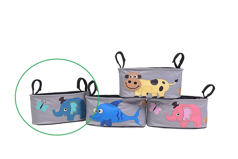 Kinderwagentasche Kinderwagen Organizer Cartoon-Motiv Baby Buggy Wickeltasche Aufbewahrungstasche Stroller Aufh/ängetasche f/ür Getr/änken Lebensmittel Windeln Blau Elefant mit Schmetterling