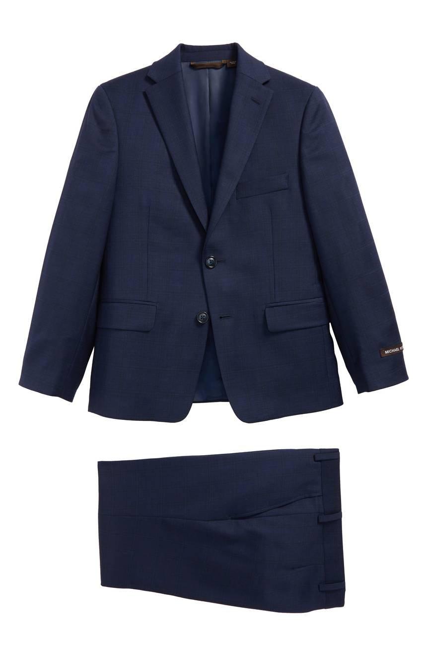 Michael Kors Boys Wool Plaid Suit (Blue, 14)