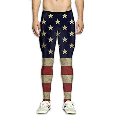GGJHYFDF Men's Compression Pants American Flag Dry Sports Tight Leggings