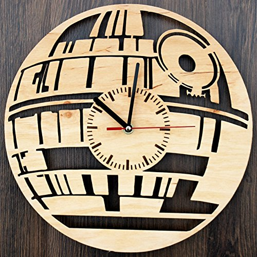 Death Star Design Real Wood Wall Clock - Eco Friendly Natural Home Wall Decor - Creative Gift Idea for Boys and Girls