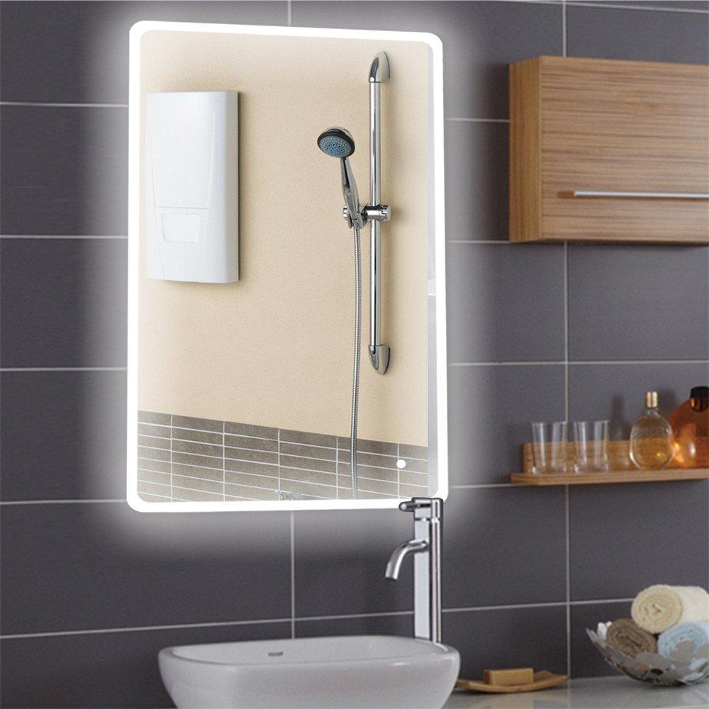 Badspiegel mit Beleuchtung,Badezimmerspiegel mit Beleuchtung, Beleuchtete Touch Control,5050 LED Strip Runder Winkel (120  70cm)