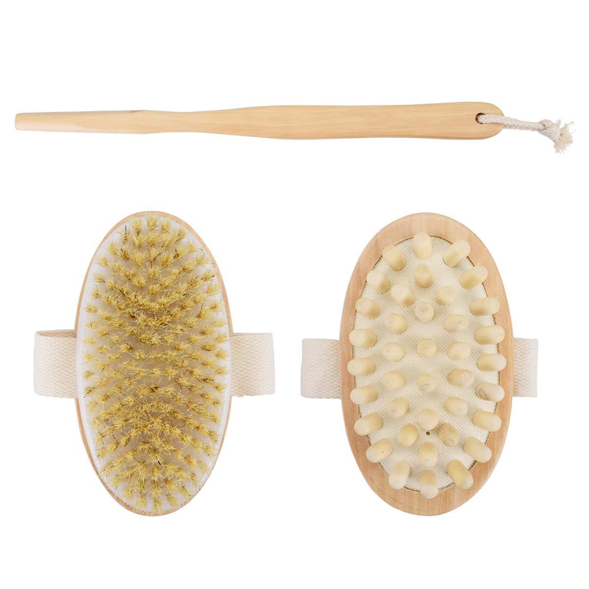 X-Mile 2 Stück Holz Cellulite Badebürste Abnehmbare Dusche Bürsten Hohe Qualität Lange Pinsel Multifunktionale Kaktus Bürste Für Zurück Klopfen Gesicht Körperhaut Massage Gelb