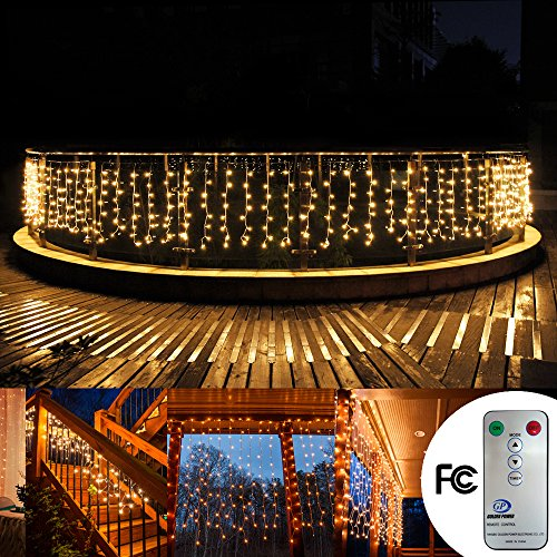 Fairy drag out Curtain lights 33ftx3ft 480 Leds Wall Icicle lights, 8 modes with Remote Window fairy Christmas lights,UL certificated lights for Home,Party, Open-air, Wedding Backdrops(Warm White)