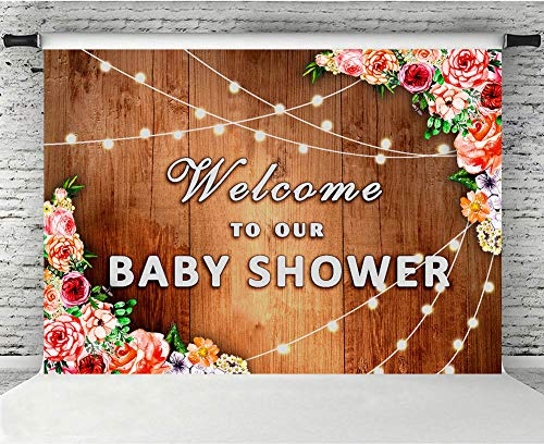 (Fanghui 7x5 Floral Rustic Wooden Backdrop No Wrinkles Baby Shower Newborn Background Brown Wood Floor Glitter Flower Wall Birthday Party Banner Supplies Photo Studio Booth Props Tea Party Baby Shower)