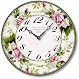 Item C1126 Vintage Style 12 Inch Pink Roses Clock For Sale