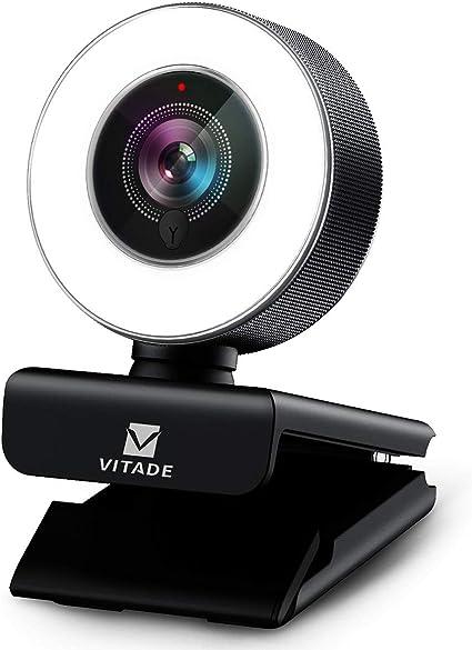 Amazon ウェブカメラ Ledライト付き フルhd 1080p 高画質 マイク内蔵 広角 Webカメラ 200万画素 オートフォーカス 自動光補正 Usb接続 H 264エンコーディング採用 Windows10 Mac対応skype Zoom ウェブ会議 動画配信 ゲーム実況 ストリーミングプロ級 Pc外付けカメラ