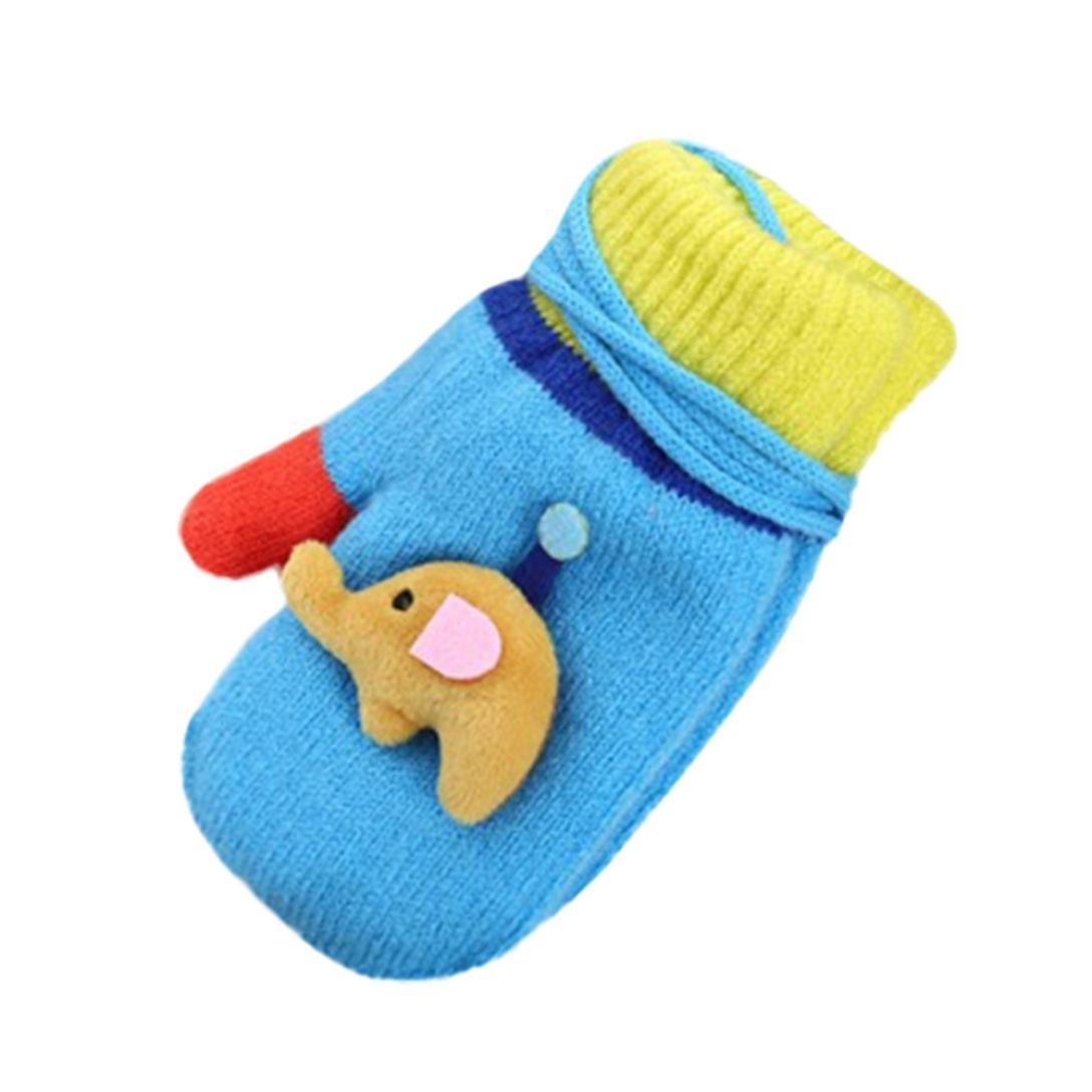 Yuxing Children Cute Elephants Knitting Winter Gloves Warm Full Finger Gloves Cartoon