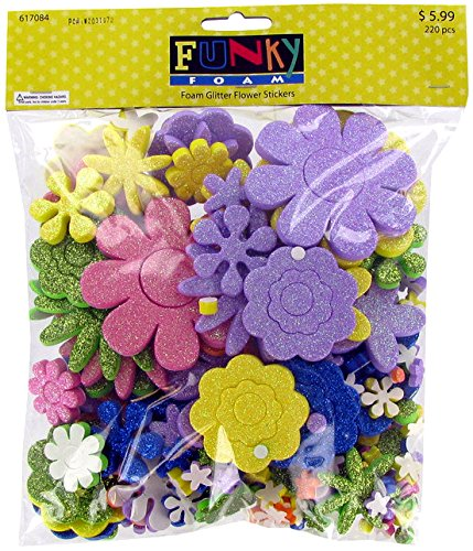 (Funky Foam, Foam Glitter Flower Stickers, 1/4 to 3 Inches, Assorted Colors, 286 Pieces)