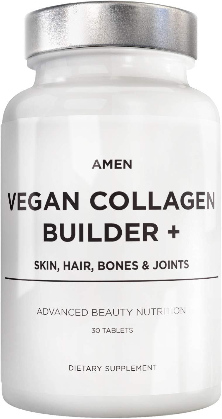 Amen Once Daily Vegan Collagen Boosting Tablets for Hair Skin & Nail Health, Plant Based Collagen Supplement with Organic Whole Foods Amino Acids Lysine Glycine Proline Vitamin C Biotin, 30 Tablets