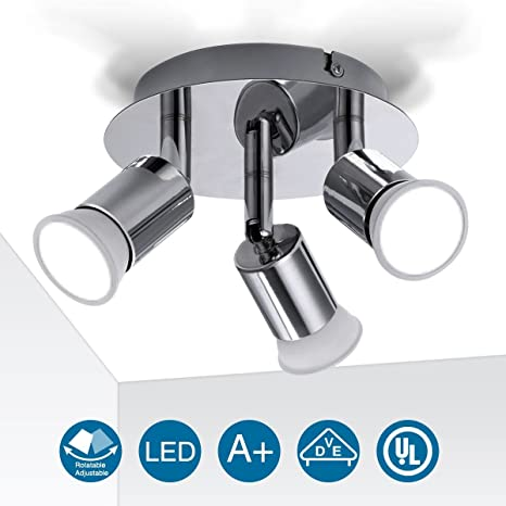 Lámpara de Techo, Elfeland 3 Luces GU10 Moderna Lámpara de Sala de Estar Focos LED