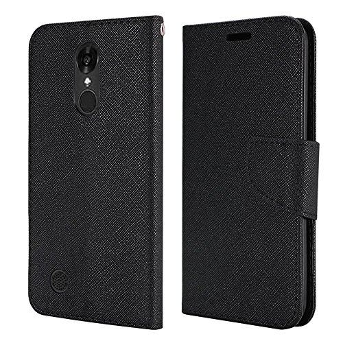 LG K20 V (VS501), LG K20 Plus, LG K10 ( 2017 release), LG Grace LTE Case. Luckiefind PU Leather Flip Wallet Credit Card Cover Case, Screen Protector & Stylus Pen Accessory (Wallet Black) - T Mobil Lg Phone