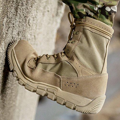 Fri Soldat Mens Militära Kängor 8 Tum Djupt Tandad Tå Och Häl Stötfångare Öken Tan Taktiska Stövlar (tan 7)