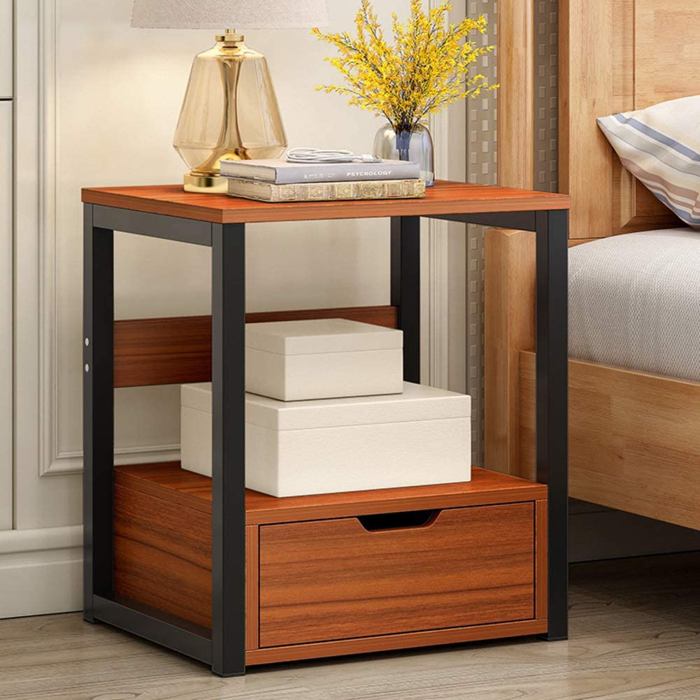 XM&LZ Industrial Accent End Table,Nightstand with Drawers Side Table for Small Spaces,Furniture Storage Display Shelves Easy Assembly