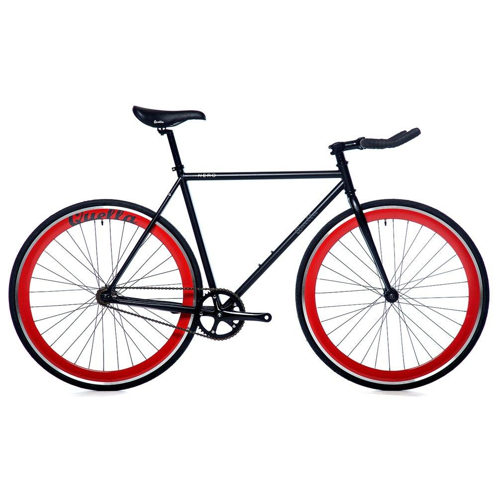 Quella Nero 赤(58cm)ピスト固定ギアシングルスピードコミューター自転車