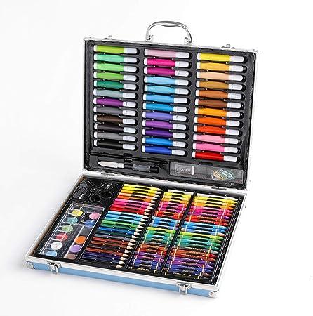pomelogreem Profesional Lápices de Colores Conjunto,Set de Pintura de 150 niños, Caja de Regalo de Madera, Acuarela, Graffiti Art @ Caja de Aluminio,de los niños cumpleaños: Amazon.es: Hogar