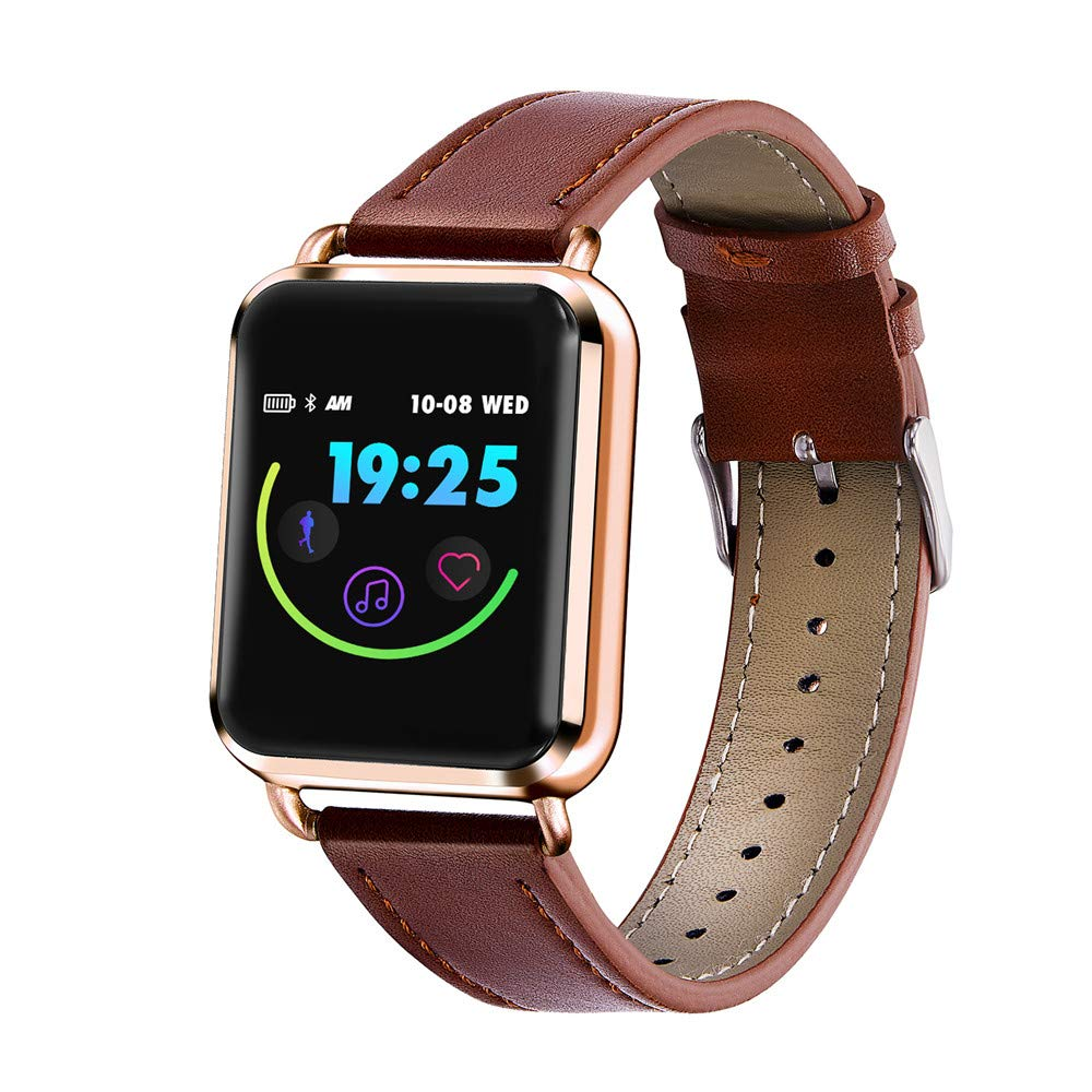 Smart Bracelet for Android Phones, elecfan Color Screen Fitness Tracker Dynamic Blood Pressure Pedometer Activity Tracker Heart Rate Sleep Monitor Smartwatch for Running Gym Exercise (A-Gold)