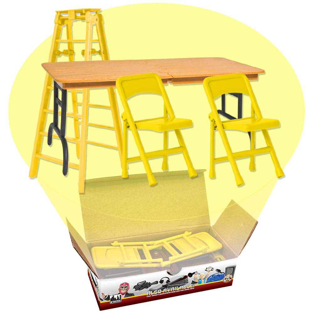 Ultimate Ladder Table and Chairs Yellow Playset for WWE Wrestling Action Figures Figures Toy Company