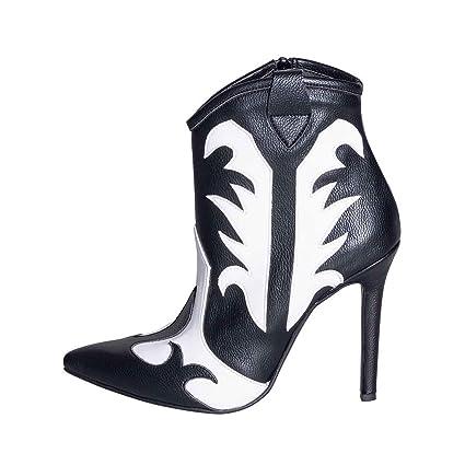 Botas de Mujer Talla 36 auténtica Piel Negra y Blanca con