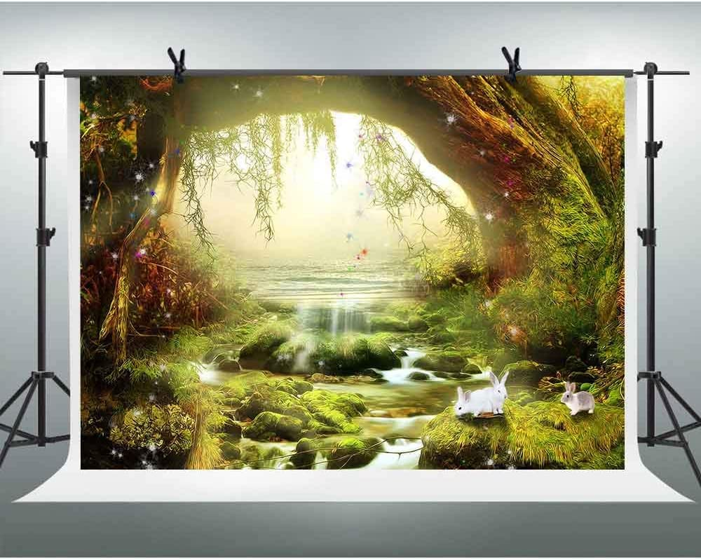 FHZON 10x7ft Dreamy Forest Backdrop Wonderland Small White Rabbit Party Decoration Background for Photography Banner Wallpaper Photo Studio Booth Props LSFH661