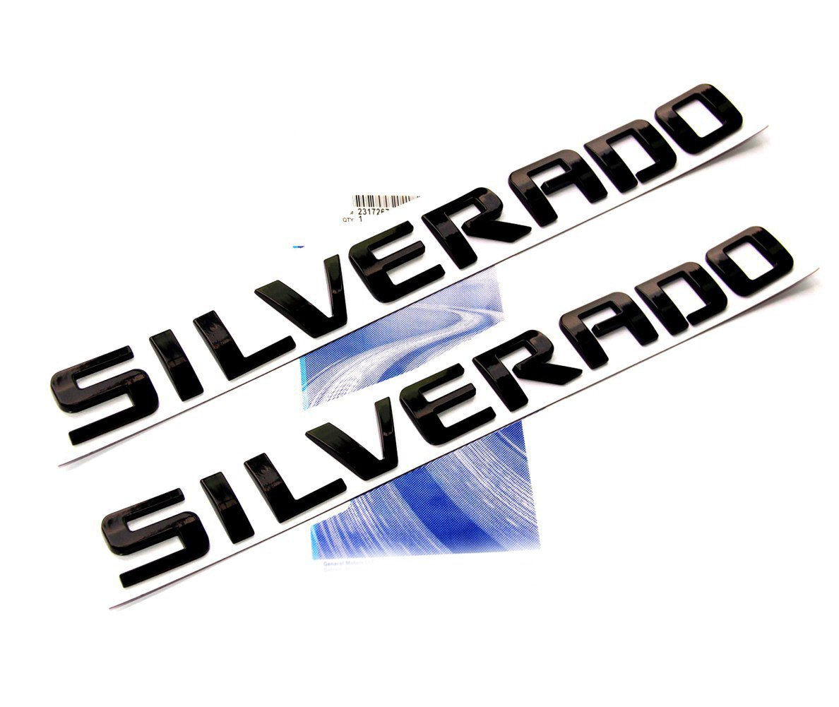 Yoaoo 2x OEM Black Silverado Emblem Badge Nameplate Letters 3D Replacement for 1500 2500HD 3500HD Glossy