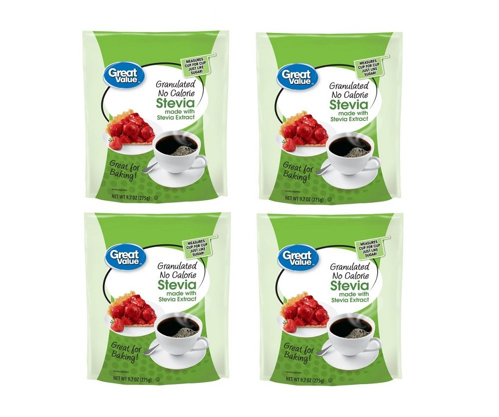 Great Value Granulated No Calorie Stevia Sweetener, 9.7oz Resealable Pouch (Pack of 4) by Great Value (Image #1)