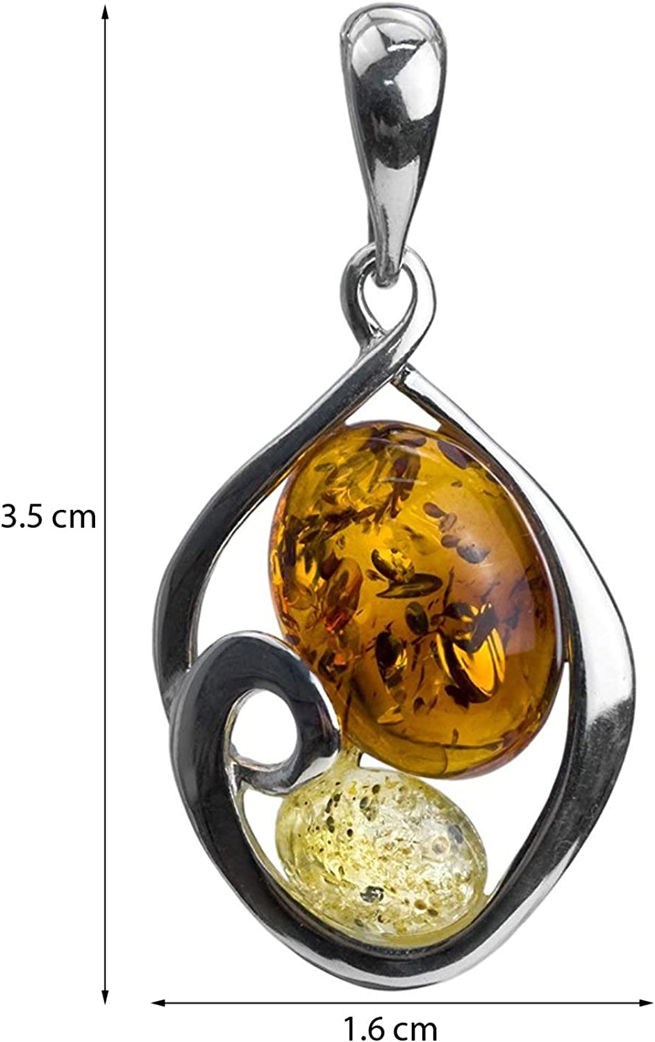 Ian and Valeri Co Multicolor Amber Sterling Silver Snake Pendant Necklace Chain 18