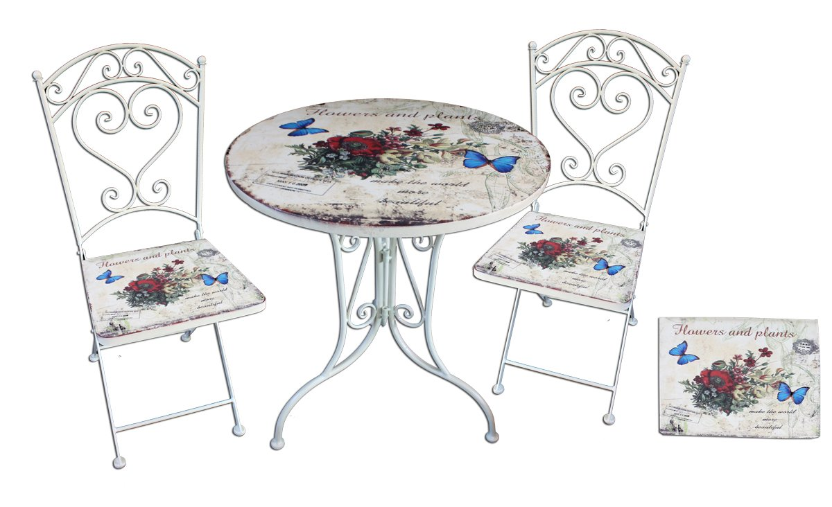 bistro set floral 3 teilig balkonm bel garnitur sitzgruppe. Black Bedroom Furniture Sets. Home Design Ideas