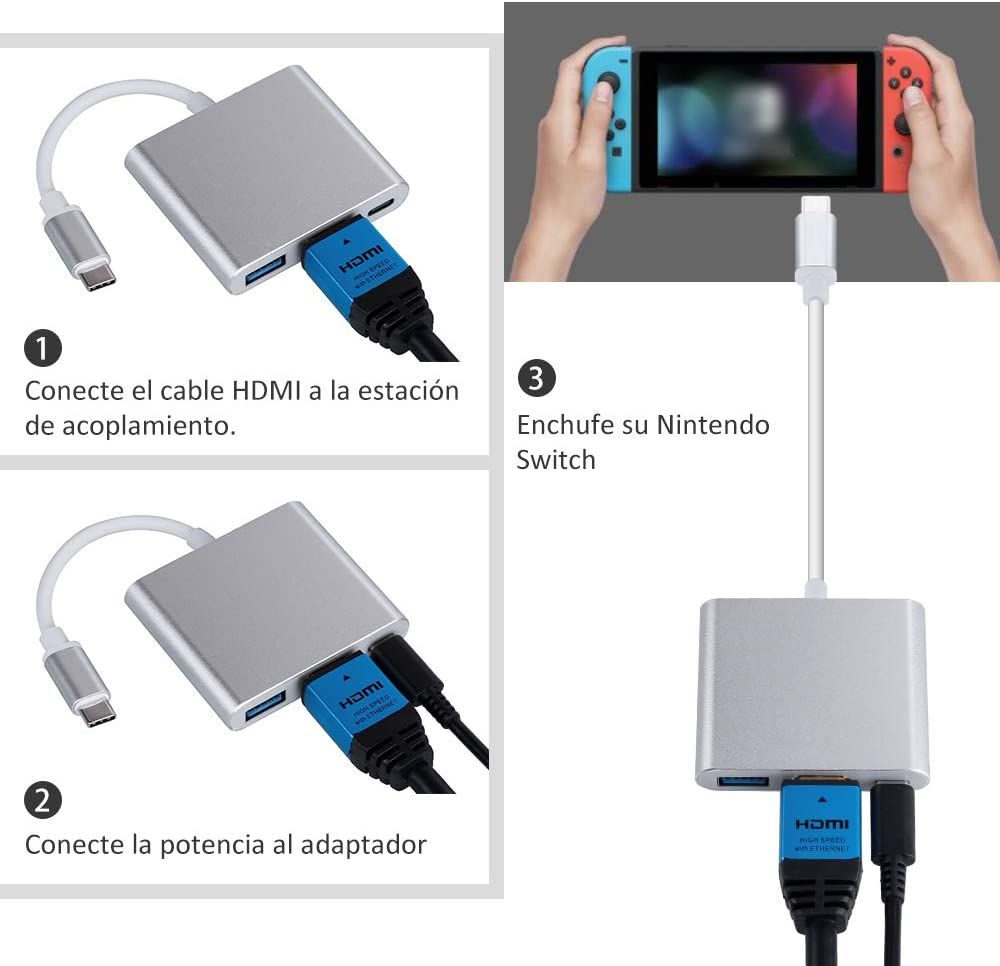 Zacro Nintendo Switch Dock USB Tipo C a HDMI Adaptador Cable USB ...