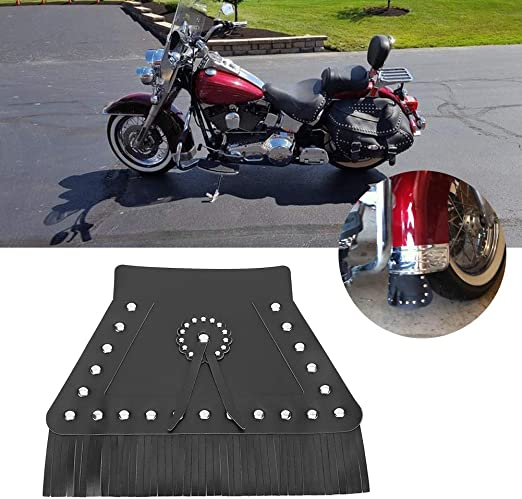 Black Qii lu Universal Fringed Leathe Durable Motorcycle Front Fender Mud Flap,Mudguard Cover,Front Mudguard Cover