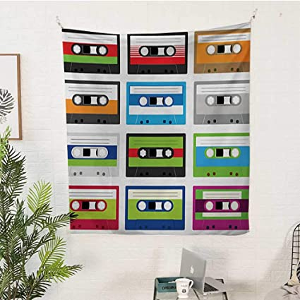 WilliamsDecor 90s Big Tapestry Collection of Retro Plastic Audio Cassettes Tapes Old Technology Entertainment Theme Pattern