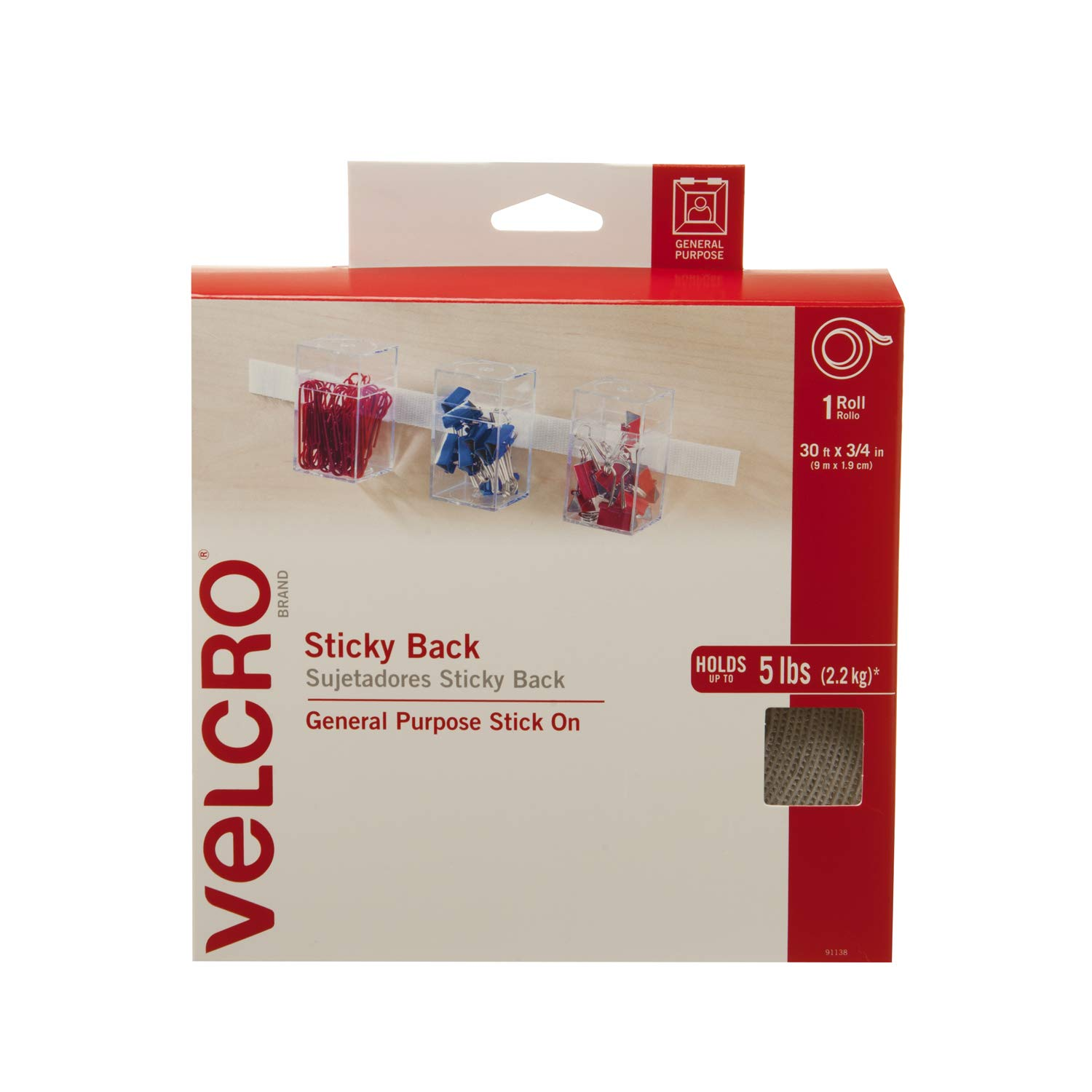 Amazon.com: VELCRO Brand - Sticky Back Hook and Loop Fasteners| Perfect for Home or Office | 5ft x 3/4in Roll | Beige: Arts, Crafts & Sewing