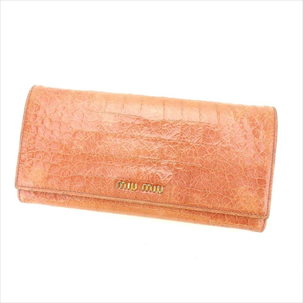 (ミュウミュウ) Miu Miu ZIP長財布 二つ折り財布 ピンク クロコダイル型押し レディース 中古 D1530   B06WRV217G