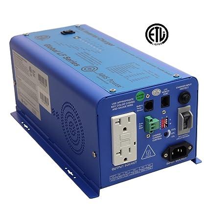AIMS Power PICOGLF6W12V120VETL Pure Sine Inverter Charger, 12V ETL Listed  to UL 458, Blue, 600W