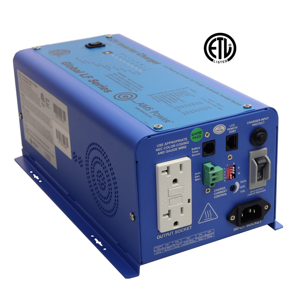 AIMS Power 600 Watt Pure Sine Inverter Charger 12 VDC to 120 VAC ETL Listed to UL 458