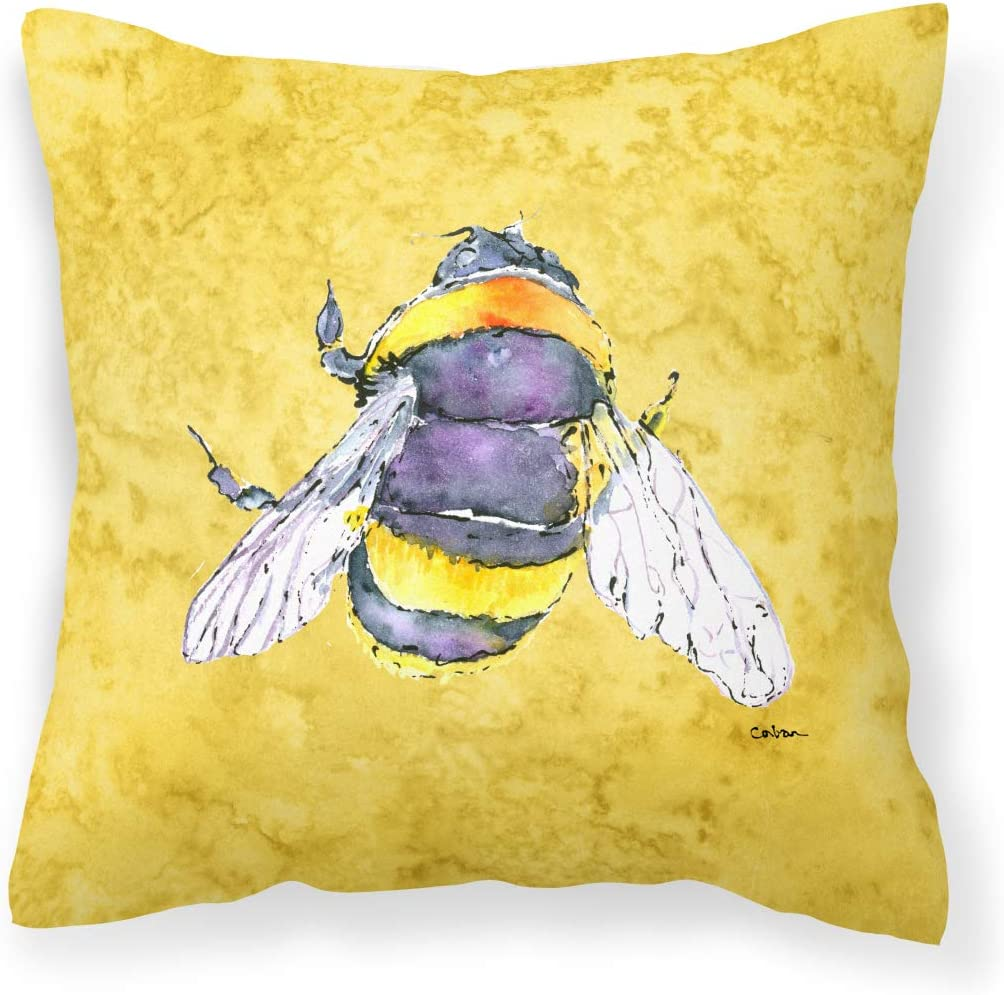 Caroline s Treasures 8852PW1414 Bee on Yellow Canvas Fabric Decorative Pillow, 14Hx14W, Multicolor