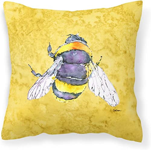 Caroline's Treasures 8852PW1414 Bee on Yellow Canvas Fabric Decorative Pillow