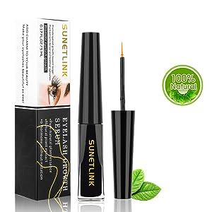 Eyelash Growth Serum, SUNETLINK Lash Booster & Eyebrow Enhancing Serum to Grow Thicker, Longer Lashes, All Natural No Stimulation - 5ml