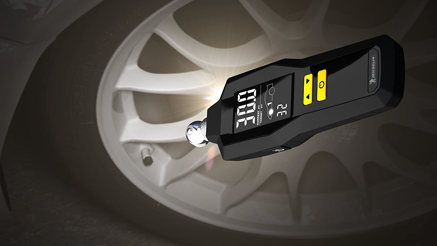 Measurement Limited Michelin 12295 Programmable Dual Car Digital Tire Pressure Gauge with Flashlight and Bleed Valve
