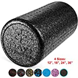 High Density Muscle Foam Rollers by Day 1 Fitness - Sports Massage Rollers for Stretching, Physical Therapy, Deep Tissue and Myofascial Release - For Exercise and Pain Relief - Black, 12'
