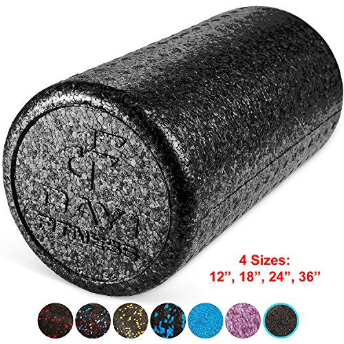 (High Density Muscle Foam Rollers by Day 1 Fitness - Sports Massage Rollers for Stretching, Physical Therapy, Deep Tissue and Myofascial Release - For Exercise and Pain Relief - Black, 12