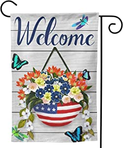 Juxuan Welcome American Garden Flag with Butterflies Dragonflies House Flag Fluttering Around Bluebonnet Flowers Double Sided Yard Flag Lawn Banner Outdoor Decoration Size 12.5 x 18 Inch