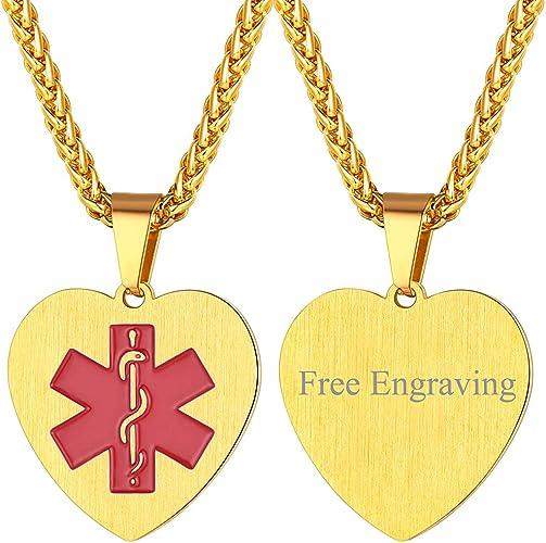 FaithHeart Placa de identificación de Alerta médica Corazón Amor Romántico Acero Inoxidable Collar Negro Ancianos Niños Enfermos: Amazon.es: Joyería