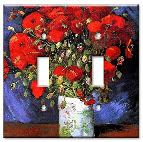 [Art Plates® - Double Gang Toggle OVERSIZE Switch Plate - Van Gogh: Poppies] (Oversize Light Switchplates)