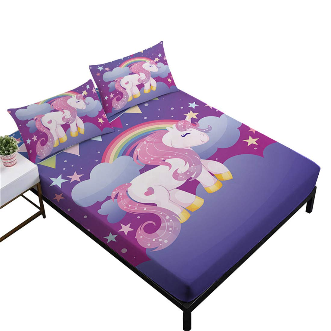 Oliven 3D Cartoon Unicorn Sheets Twin Size,Fitted Sheets Set Twin Size,Bed Sheets Twin Purple Bedding Set 3 Pieces Girls Gift Home Decor