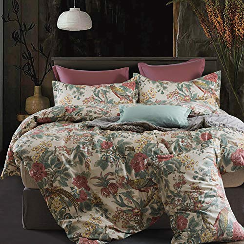 Eikei Home Chinoiserie Chic Peacock Floral Duvet Cover Paradise Garden Botanical Bird and Tree Branches Vintage Stylized Long Staple Cotton Bedding Set (Queen, Autumn Red)