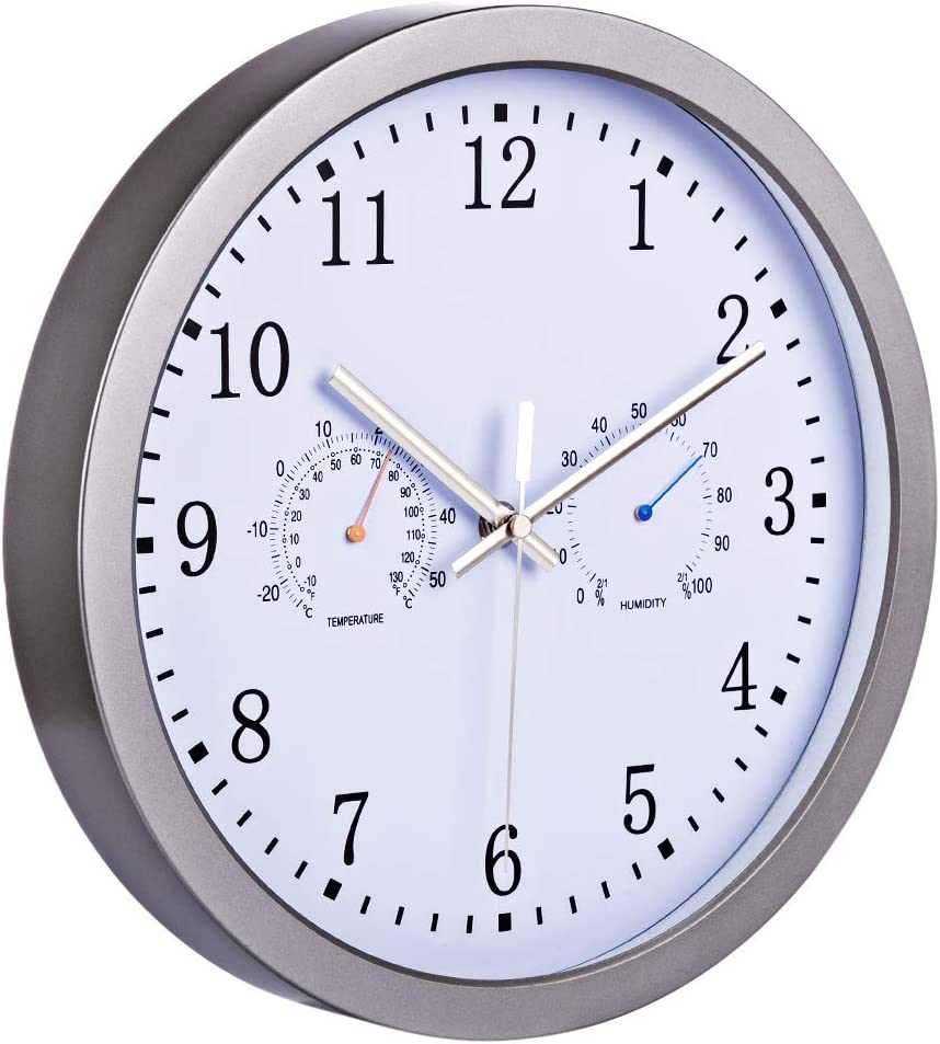 Seciie 30cm Horloge Murale Radio Pilotée Ultra Silencieux - Horloge Murale Moderne avec Thermomètre Hygromètre pour Salon Chambre Bureau Cuisine Gris