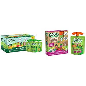 GoGo squeeZ Applesauce, Variety Pack (Apple/Banana/Mango), 3.2 Ounce (20 Pouches) & Organic fruit & veggieZ, Apple Mixed Berry Carrot, 3.2 Ounce (4 Pouches), Gluten Free, Vegan Friendly