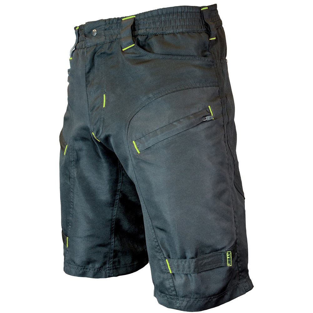 Urban Cycling Apparel The Single Tracker - Mountain Bike MTB Shorts with Secure Pockets, Baggy fit, Dry-Fast (Small 26-28'', Black/Yellow - No Undershorts)